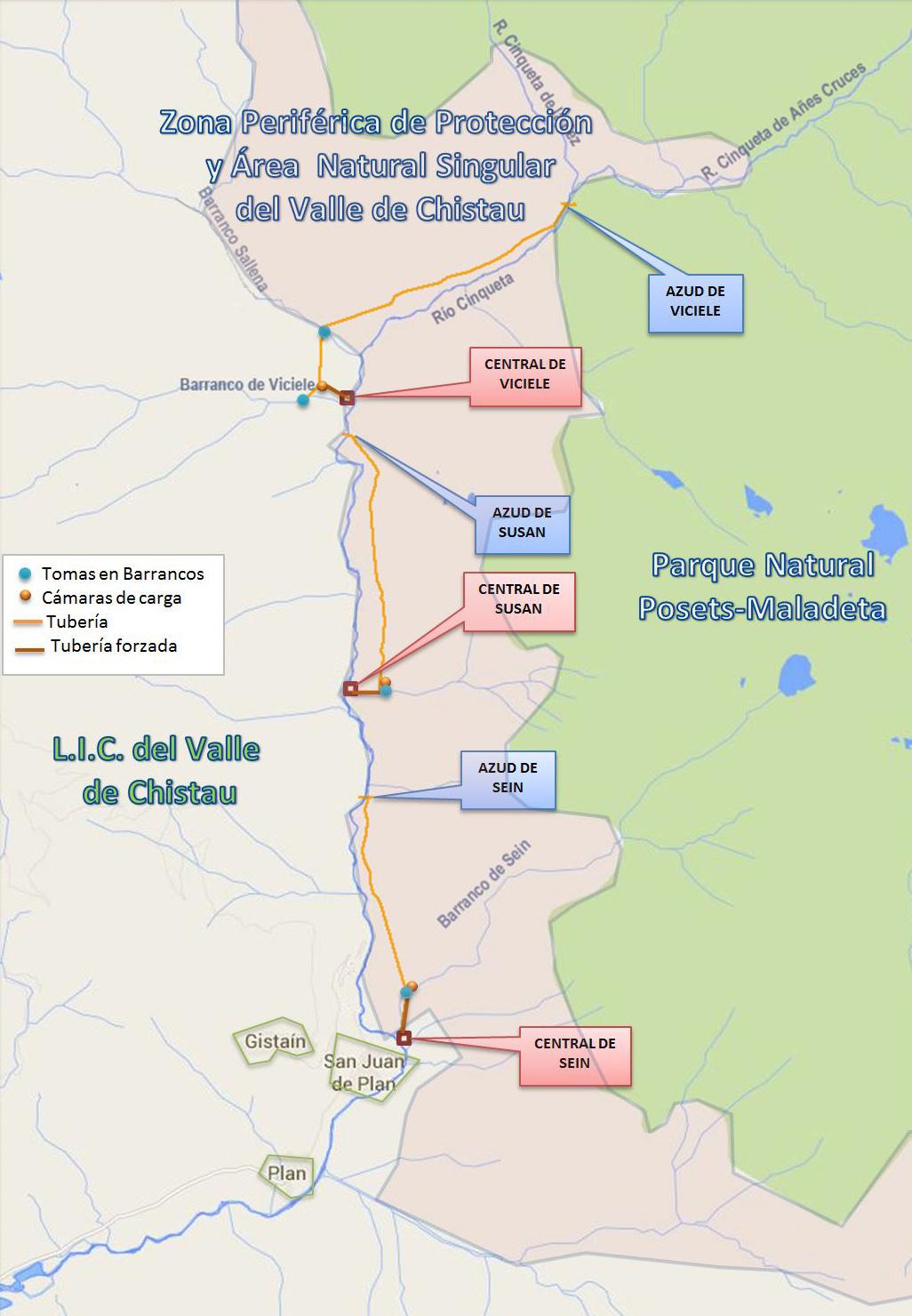 Mapa del proyecto de minicentrales del Valle de Chistau, a las puertas del Parque Natural Posets-maladeta